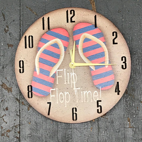 "9"" Round Nautical Wooden Flip Flop Clock Painted"
