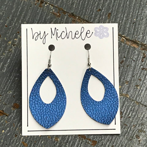 Blue Metallic Faux Leather Teardrop Fishhook Dangle Earring Set