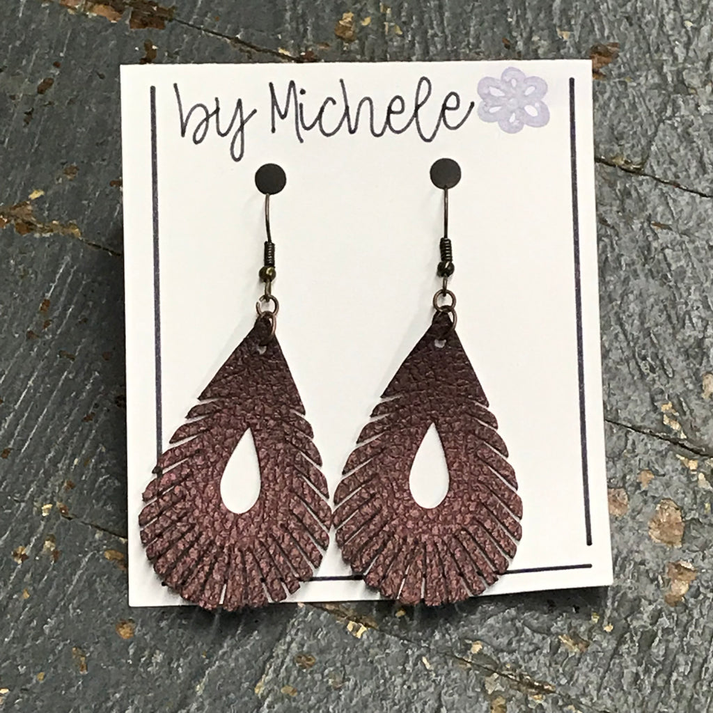Mulberry Metallic Faux Leather Feathered Teardrop Fishhook Dangle Earring Set
