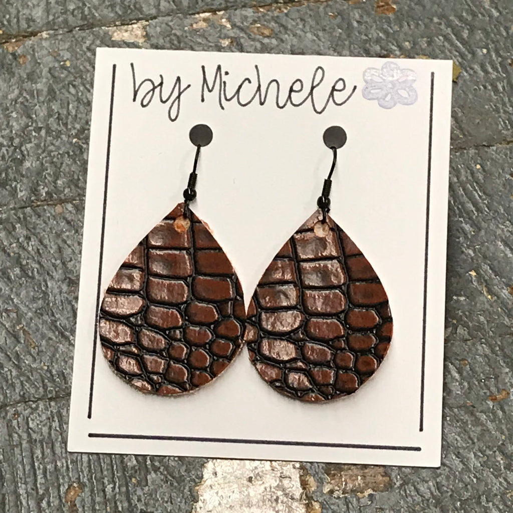 Cobble Brown Leather Faux Leather Solid Teardrop Fishhook Dangle Earring Set