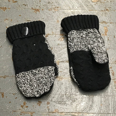 Upcycled Sweater Fleece Lined Mittens Black White
