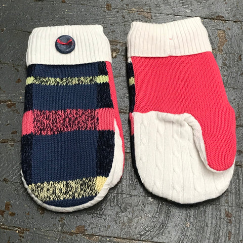 Upcycled Sweater Fleece Lined Mittens Pink Grey Blue Yellow Stripe