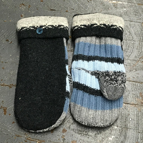 Upcycled Sweater Fleece Lined Mittens Blue Grey Stripe