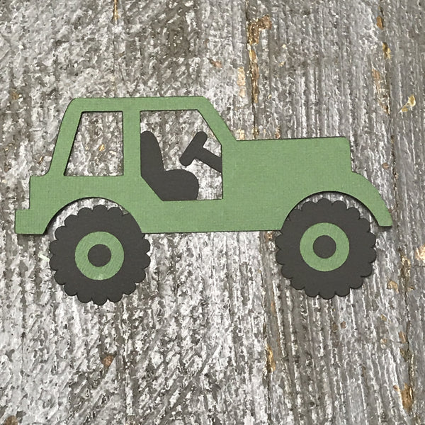 Jeep Green Handmade Cut Out Paper Scrapbook Embellishment Gift Package Tag