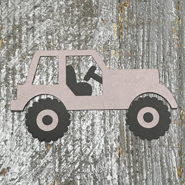Jeep White Handmade Cut Out Paper Scrapbook Embellishment Gift Package Tag