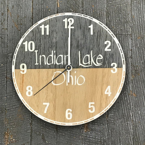 "9"" Round Nautical Wooden Indian Lake Clock Painted"