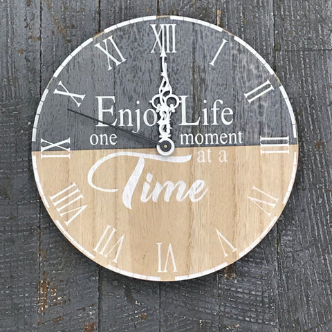"9"" Round Wooden Clock Painted Enjoy Life One Moment at a Time"