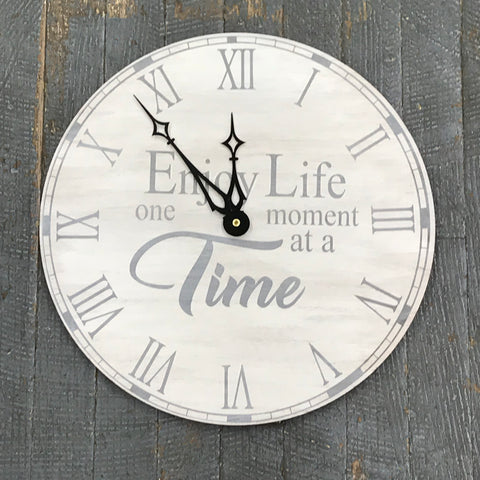 "13"" Round Wooden Clock Painted Enjoy Life One Moment at a Time"