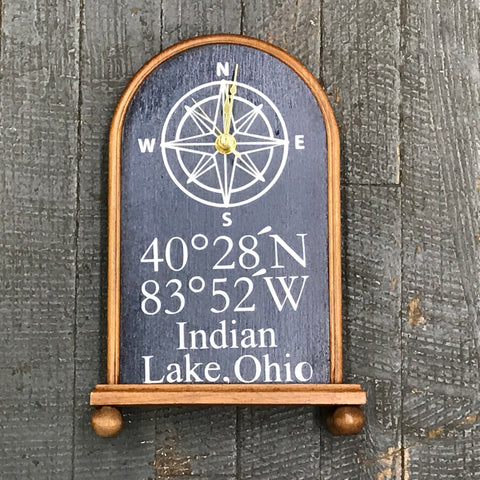 Mantel Nautical Wooden Indian Lake Coordinate Clock Painted