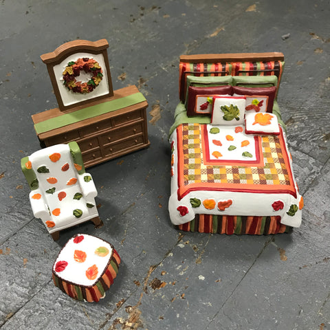 Fall Autumn Leaves Miniature Doll House Bedroom Doll Furniture