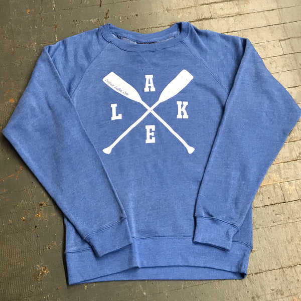 Indian Lake Oh Lake Paddle Oar Crew Neck Blue Graphic Designer Sweatshirt