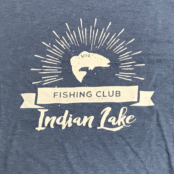 Indian Lake Fishing Club Short Sleeve T-Shirt Blue Graphic Designer Tee