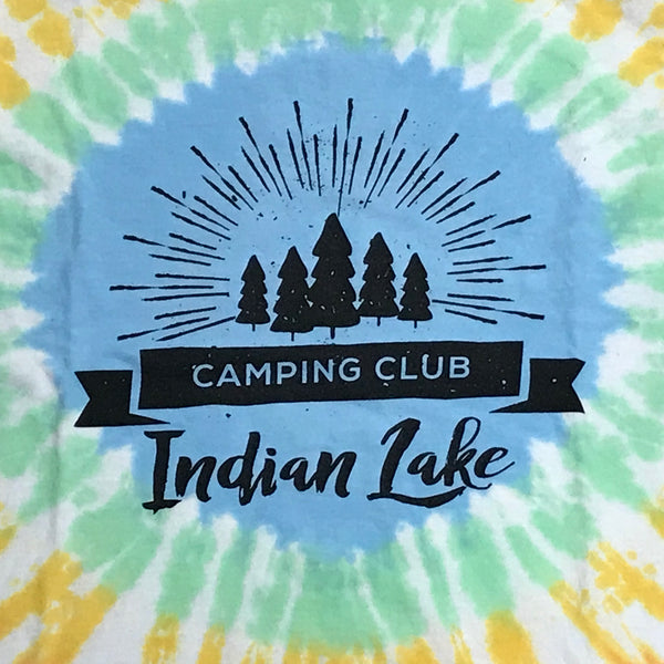Indian Lake Camping Club Short Sleeve T-Shirt Tie Dye Graphic Designer Tee