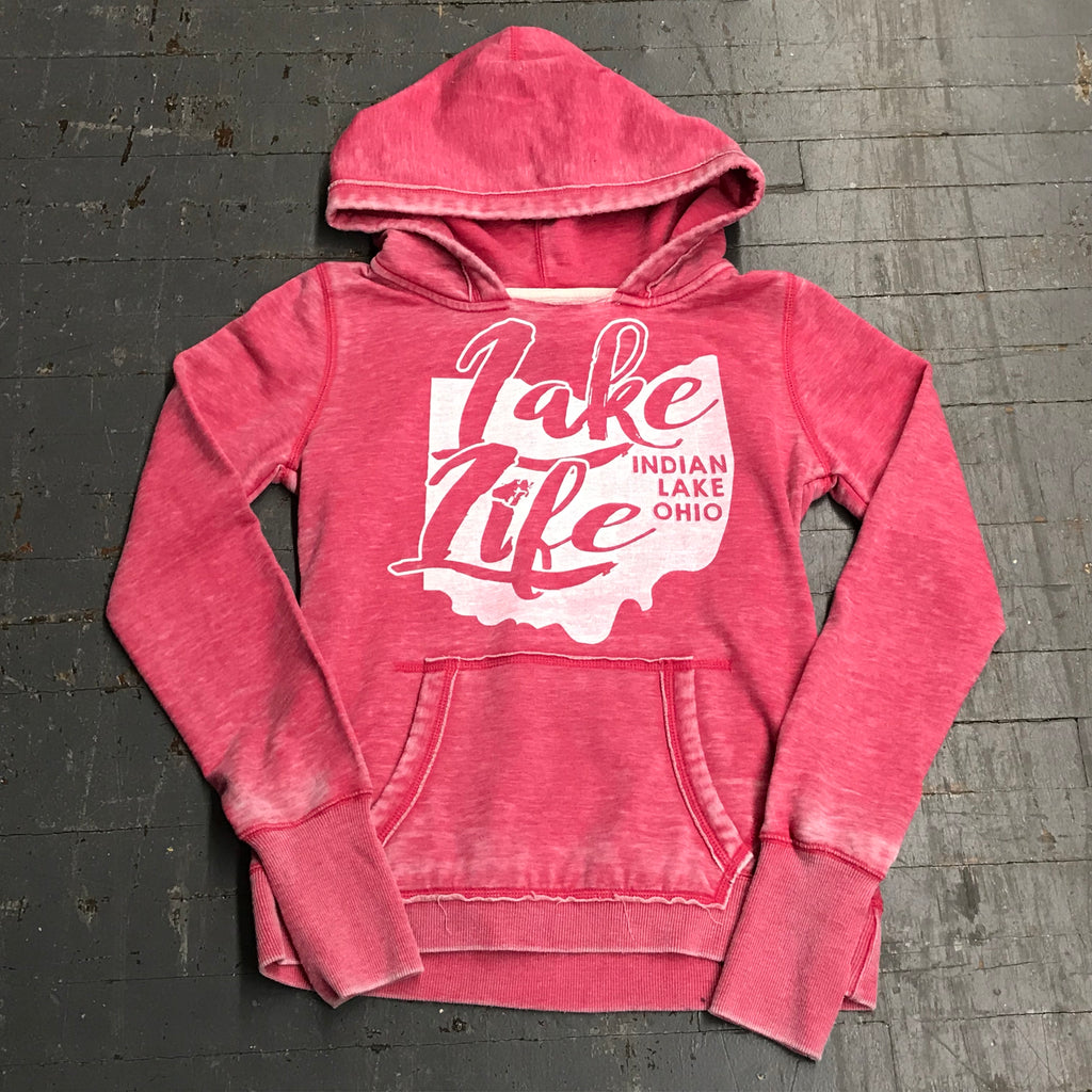 Indian Lake Ohio Lake Life Ladies Hoody Pink Graphic Designer Sweatshirt