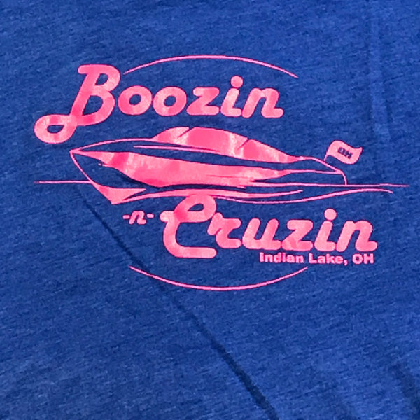 Indian Lake OH Boozin Cruzin T-Shirt Blue Pink Graphic Designer Tank