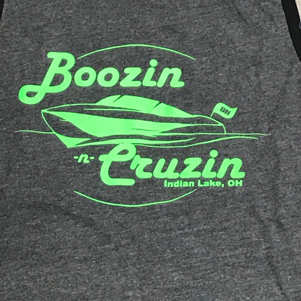 Indian Lake OH Boozin Cruzin T-Shirt Grey Black Piped Graphic Designer Tank