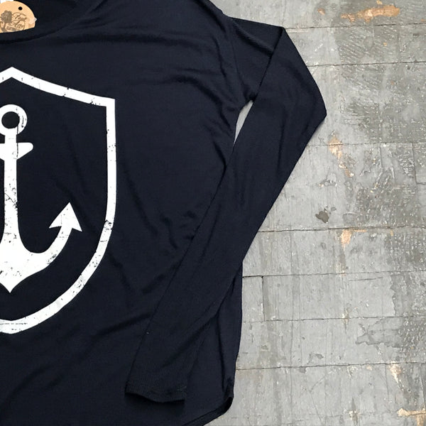 Nautical Anchor Long Sleeve T-Shirt Navy Graphic Designer Tee