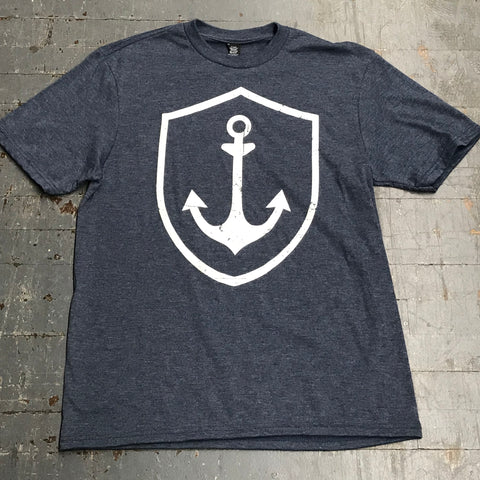 Nautical Anchor Short Sleeve T-Shirt Heather Navy Graphic Designer Tee
