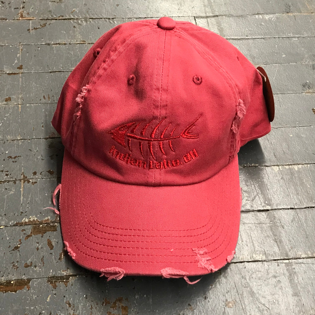Indian Lake Ohio Bone Fish Rugged Hat Red Embroidered Ball Cap