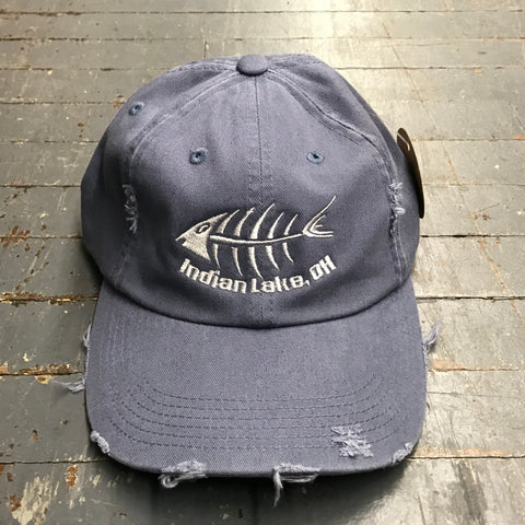 Indian Lake Ohio Bone Fish Rugged Hat Blue Embroidered Ball Cap