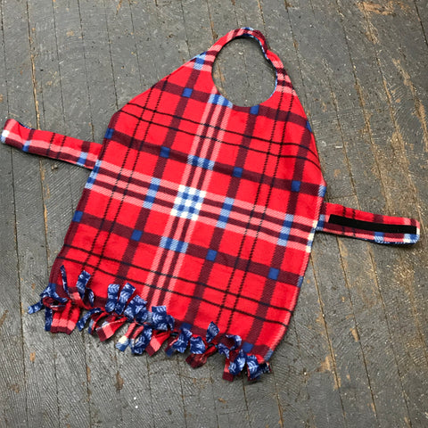 Red Blue Plaid Large Dog Pet Reversible Blanket Sweater Coat