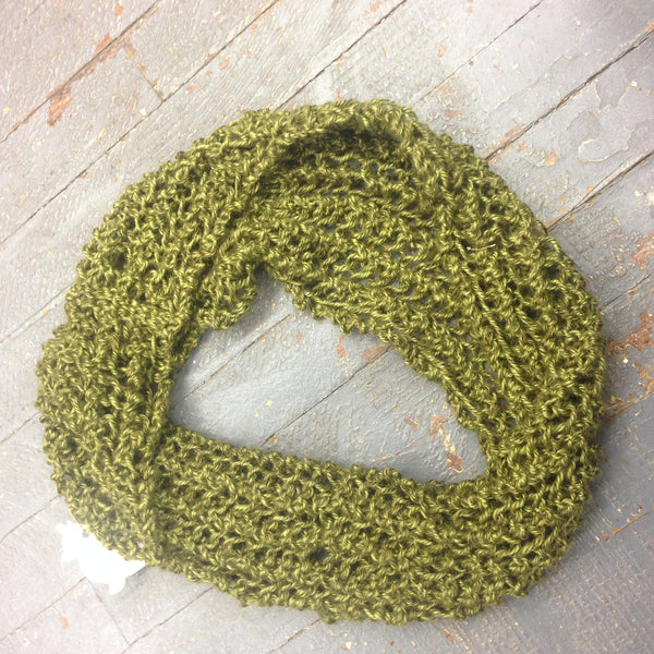 Infinity Cowl Scarf Neck Warmer Crochet Knit Pattern Olive Green from Designs by Suzanne