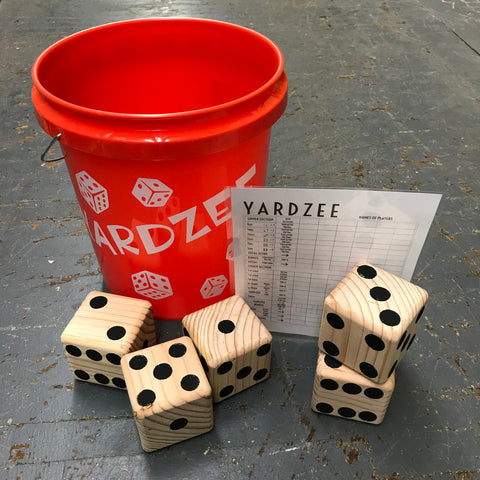 Classic Yahtzee Yardzee Outdoor Dice Game Red Bucket