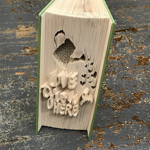 Folded Book Art Custom Folded Pages Hardback Book Water Can Garden Love Grows Here