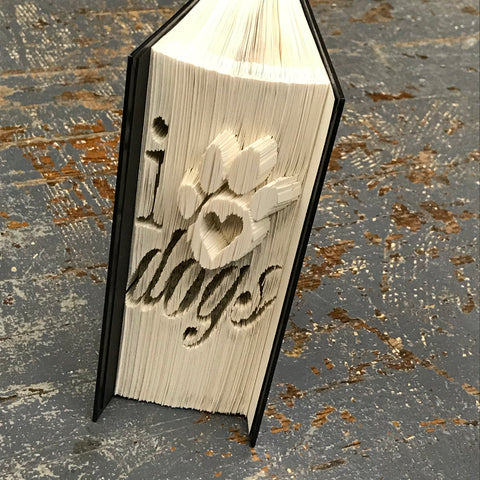 Folded Book Art Custom Folded Pages Hardback Book Animal Paw Prints I Love Dogs