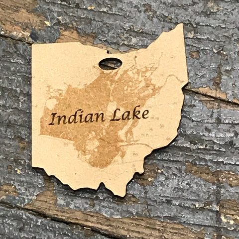 Indian Lake Ohio Map Wood Engraved Holiday Christmas Tree Ornament Key Chain