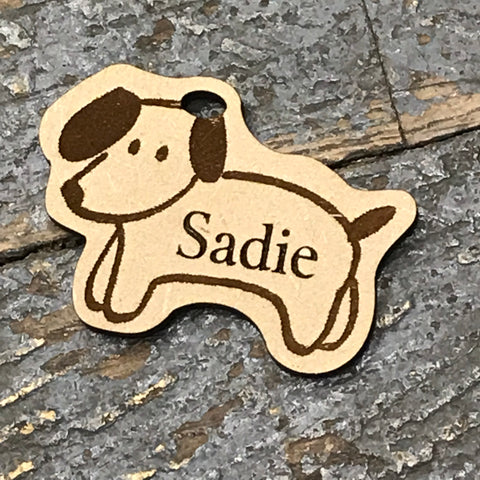 Puppy Dog Pet Personalized Wood Engraved Holiday Christmas Tree Ornament Key Chain