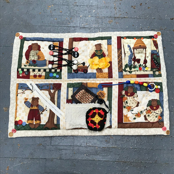 Fidget Sensory Activity Blanket Alzheimer Dementia Special Needs Autism Elderly Care Quilt Honey Bear