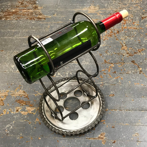 Upcycled Welded Gear Art Sculpture Wire Wine Bottle Rack Holder
