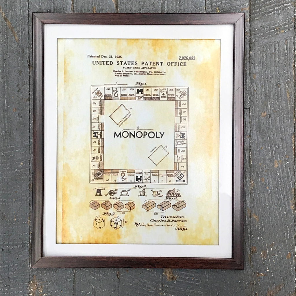 Monopoly Board Game Toy Patent Print Wall Display Picture Frame Toy Art