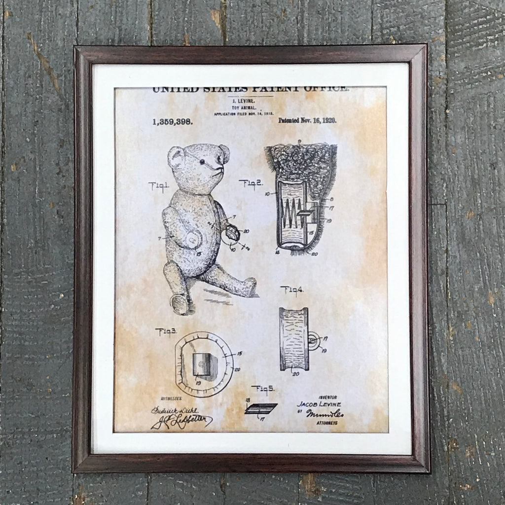 Teddy Bear Animal Figurine Toy Patent Print Wall Display Picture Frame Toy Art