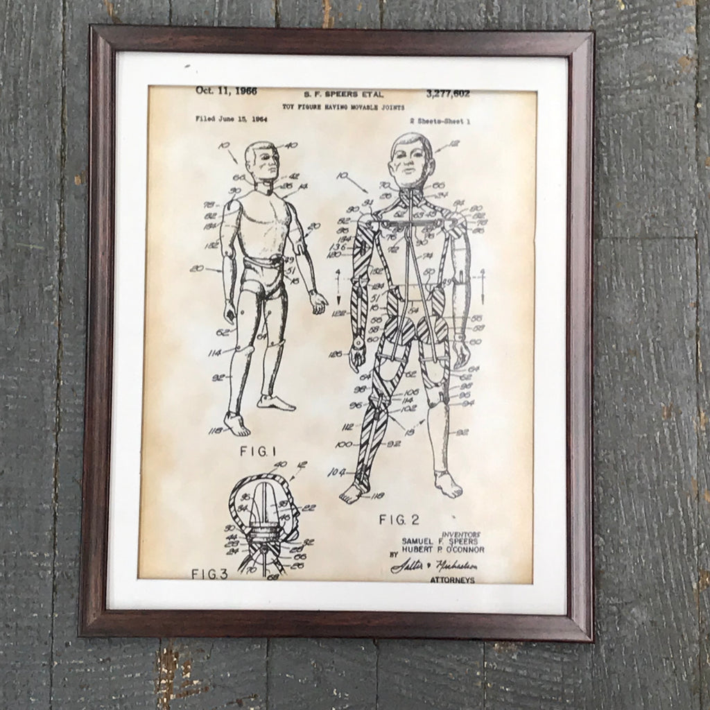 GI Joe Figurine Toy Doll Patent Print Wall Display Picture Frame Toy Art