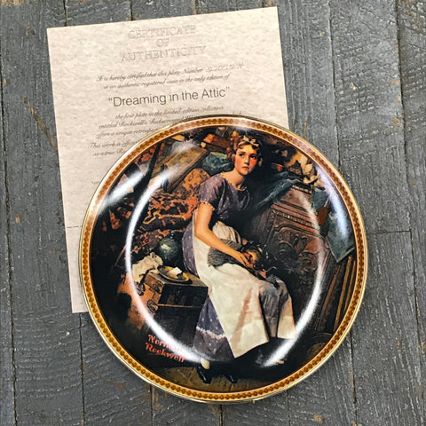Norman Rockwell Knowles China Plate Dreaming by the Attic Rediscovered Women