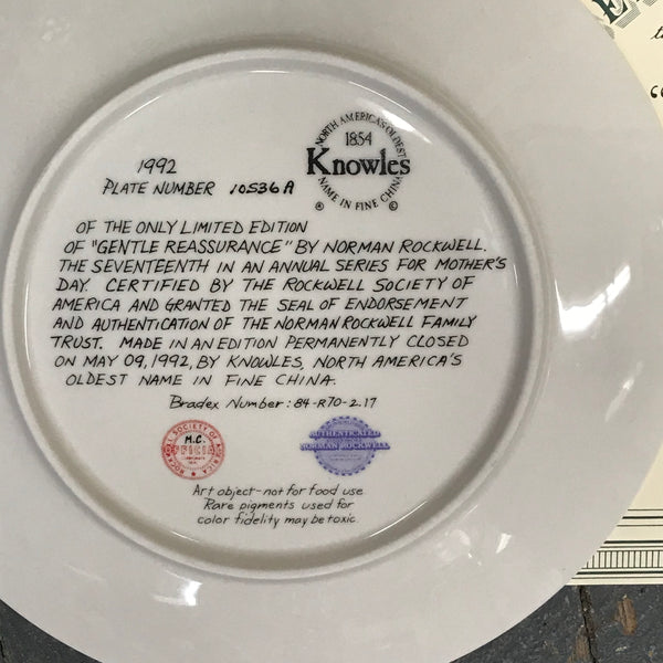 1992 Norman Rockwell Knowles China Plate Gentle Reassurance Mothers Day 10536A
