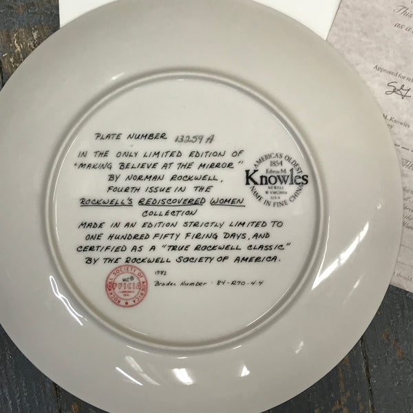 1982 Norman Rockwell Knowles China Plate Making Believe at the Mirror