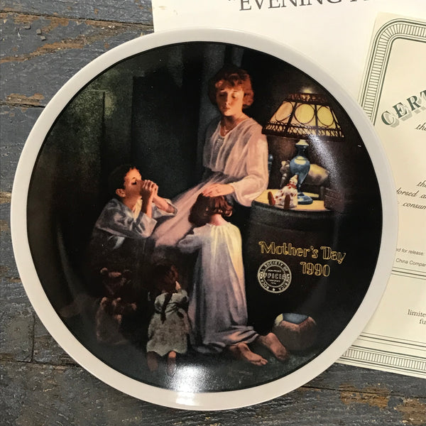 1990 Norman Rockwell Knowles China Plate Evening Prayers Mothers Day 12913B