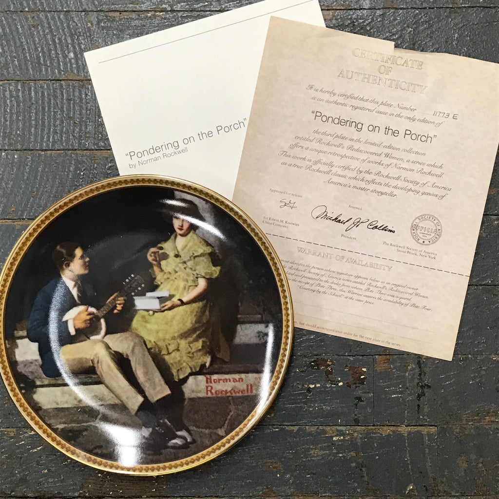 Norman Rockwell Knowles China Plate Pondering on the Porch Rediscovered Women