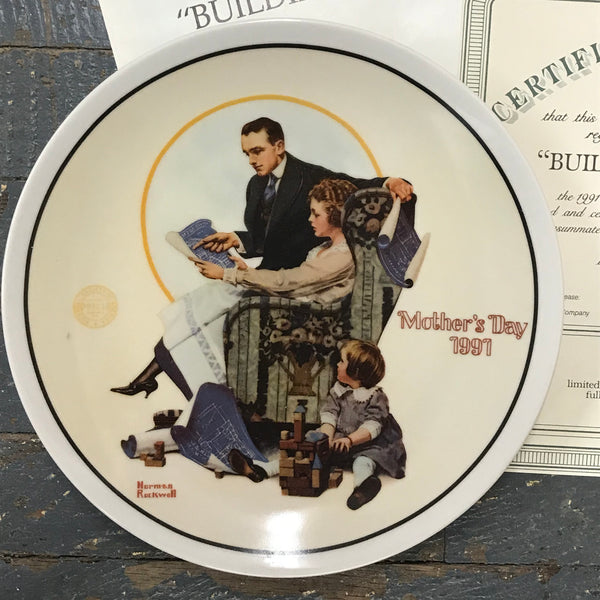 1991 Norman Rockwell Knowles China Plate Building Our Future Mothers Day