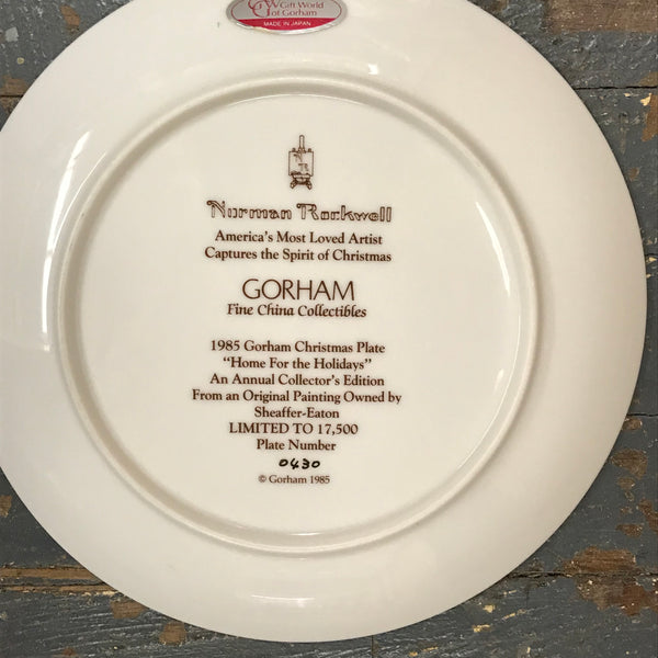 1985 Norman Rockwell Gorham China Christmas Plate Home for the Holidays #0430