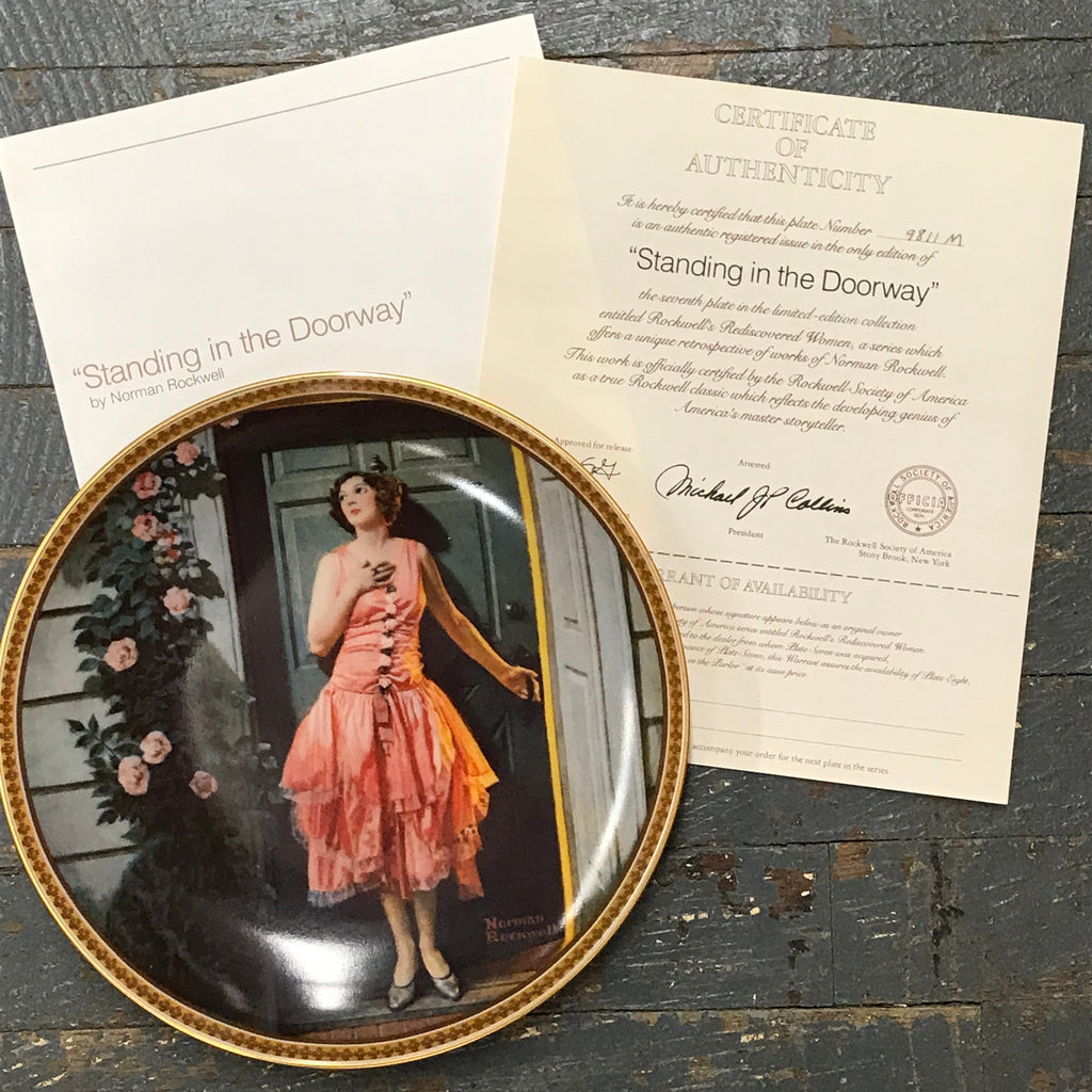 Norman Rockwell Knowles China Plate Standing in the Doorway Rediscovered Women