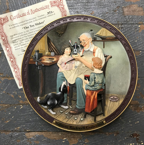 1993 Norman Rockwell Family Trust Plate The Toy Maker Norman Rockwell Centennial