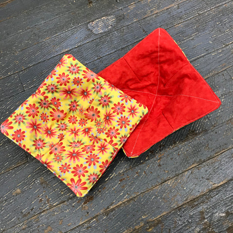 Handmade Fabric Cloth Microwave Bowl Coozie Hot Cold Pad Holder Yellow Red Orange Flower