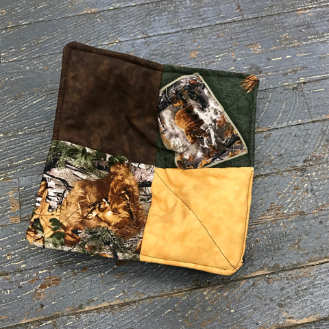 Handmade Fabric Cloth Microwave Bowl Coozie Hot Cold Pad Holder Hunting Camo Patchwork