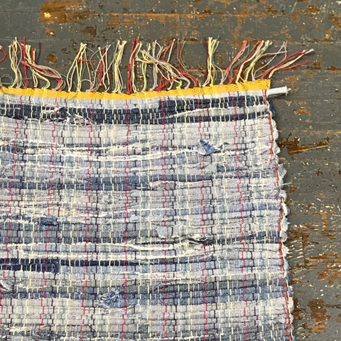#136 Blue Jean Denim Rag Weaved Table Runner Rug by Morgan