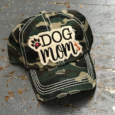 Dog Mom Hat Camo Embroidered Ball Cap