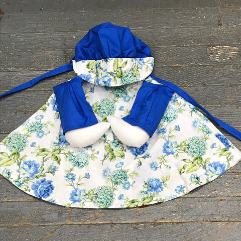 Goose Clothes Complete Holiday Goose Outfit White Blue Green Floral Dress and Hat Costume